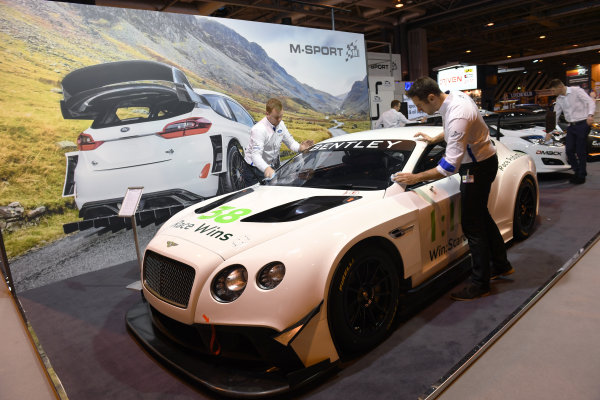 Autosport International Exhibition. National Exhibition Centre, Birmingham, UK. Friday 13 January 2017. A Bentley is cleaned on the M-Sport stand. World Copyright: Sam Bagnall/LAT Photographic. Ref: DSC_2680