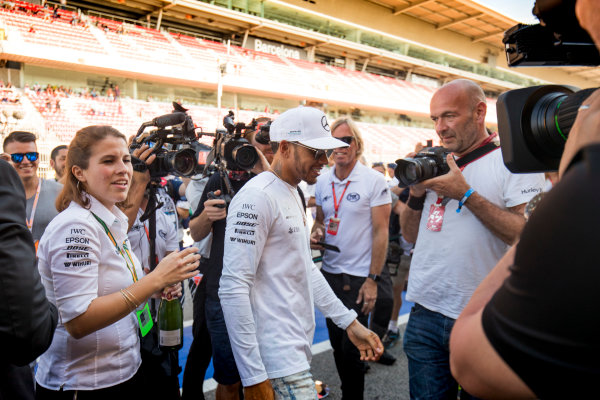 Circuit de Catalunya, Barcelona, Spain. Sunday 14 May 2017. Lewis Hamilton, Mercedes AMG, celebrates with his team after winning the race. World Copyright: Zak Mauger/LAT Images ref: Digital Image _54I1643
