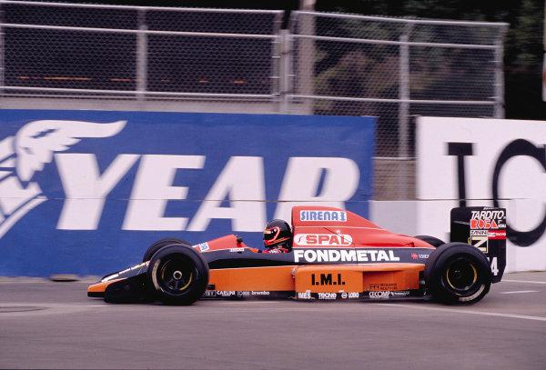 1990 United States Grand Prix.Phoenix, Arizona, USA.9-11 March 1990.Olivier Grouillard (Osella FA1M Ford).Ref-90 USA 56.World Copyright - LAT Photographic