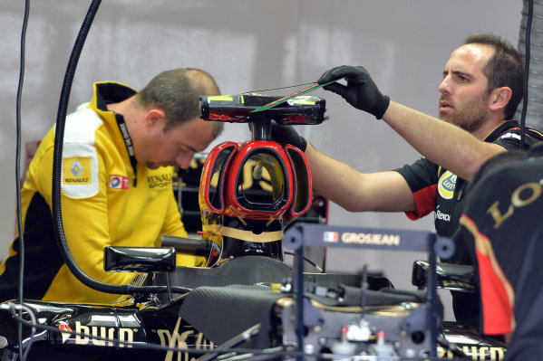 Lotus E21 in the garage. Formula One World Championship, Rd9, German Grand Prix, Preparations, Nurburgring, Germany, Thursday 4 July 2013.