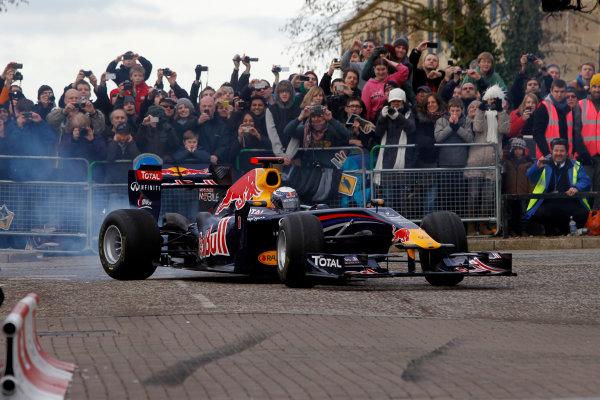Milton Keynes.  Saturday 10th December 2011.Sebastian Vettel, Red Bull Racing RB7 Renault in action during the Red Bull Racing home run.Photo: LAT Photographic.Ref: Digital Image _Q0C6878 jpg