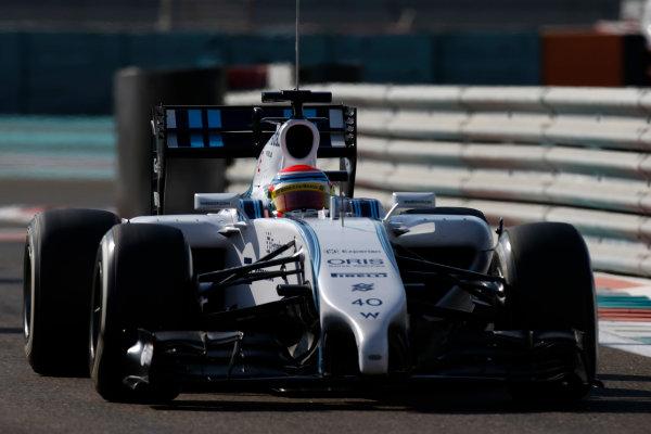 Yas Marina Circuit, Abu Dhabi, United Arab Emirates. Wednesday 26 November 2014. Felipe Nasr, Williams FW36 Mercedes. World Copyright: Glenn Dunbar/LAT Photographic. ref: Digital Image _89P8453