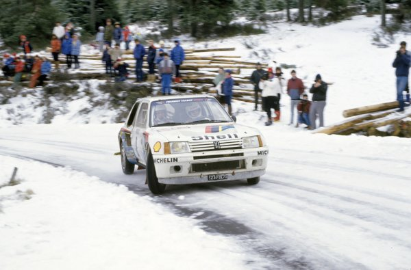 1985 World Rally Championship.Monte Carlo Rally, Monaco. 26 January-1 February 1985.Bruno Saby/Jean-Francois Fauchille (Peugeot 205 T16 E2), 8th position.World Copyright: LAT PhotographicRef: 35mm transparency 85RALLY14