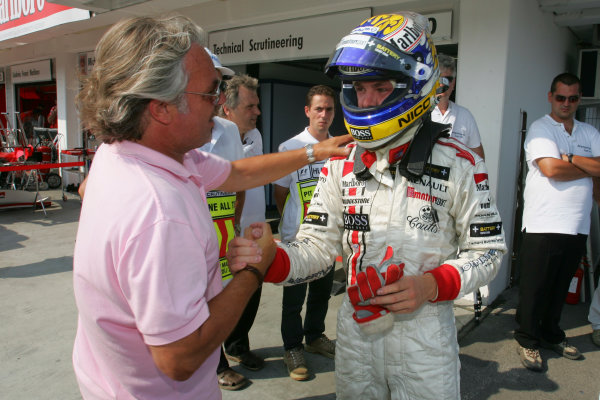 2005 GP2 Series - HungaryHungaroring, Budapest28th - 31st July 2005Friday QualifyingFather Keke congratulates son Nico Rosberg (D, ART Grand Prix). on his pole, Portrait. Copyright: GP2 Series Media Service ref: Digital Image Only