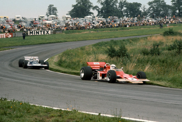 1970 International Gold Cup.  Oulton Park, Cheshire, England. 22nd August 1970.  Jochen Rindt, Lotus 72 Ford, leads Jackie Stewart, Tyrrell 001 Ford.  Ref: 70GC13. World Copyright: LAT Photographic