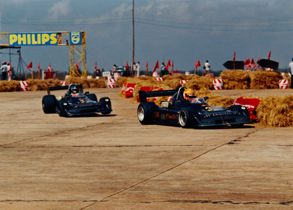 Bangalore, India. February 1985.Tiff Needell (Formula Atlantic Chevron B45), 1st position leads Jim Crawford (Formula Atlantic Chevron B45), 2nd position, action. World Copyright: LAT Photographic.Ref:  Colour Print.