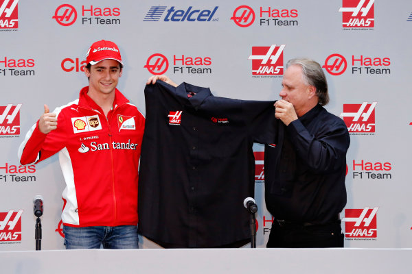 Autodromo Hermanos Rodriguez, Mexico City, Mexico. Saturday 31 October 2015. Esteban Gutierrez is announced as a Haas F1 driver for the 2016 season alongside Gene Haas, Owner and Founder, Haas F1. World Copyright: Glenn Dunbar/LAT Photographic. ref: Digital Image _89P9941