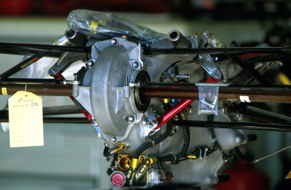 Detail of the transmission and rear suspension of a Toyota TF102.
