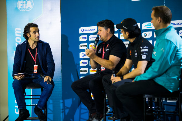 2016/2017 FIA Formula E Championship. Round 9 - Brooklyn, New York City, United States of America Friday 14 July 2017. Dario Franchitti with Michael Andretti, Jay Penske and Gerry Hughes. Photo: Sam Bloxham/LAT/Formula E ref: Digital Image _J6I2592