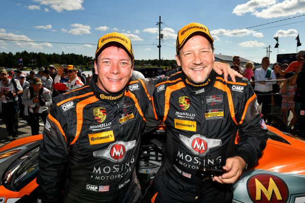 IMSA Continental Tire SportsCar Challenge Mobil 1 SportsCar Grand Prix Canadian Tire Motorsport Park Bowmanville, ON CAN Saturday 8 July 2017 56, Porsche, Porsche Cayman, ST, Jeff Mosing, Eric Foss, celebrate, win, winners, victory lane World Copyright: Scott R LePage/LAT Images