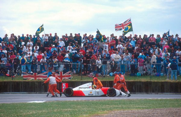 1993 British Grand Prix.Silverstone, England.9-11 July 1993.Ayrton Senna (McLaren MP4/8 Ford) retires out of fuel but is classified in 5th position.Ref-93 GB 17.World Copyright - LAT Photographic