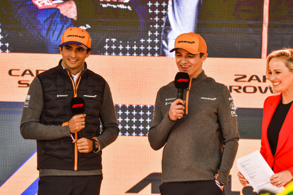 Carlos Sainz Jr, McLaren and Lando Norris, McLaren at the Federation Square event.