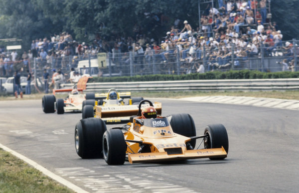 Vittorio Brambilla, Surtees TS20 Ford leads Harald Ertl, ATS HS1 Ford and Nelson Piquet, McLaren M23 Ford.