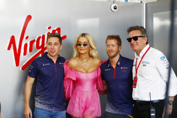 Singer Rita Ora meets Robin Frijns (NLD), Envision Virgin Racing, Sam Bird (GBR), Envision Virgin Racing, Audi e-tron FE05, and Alejandro Agag, CEO, Formula E