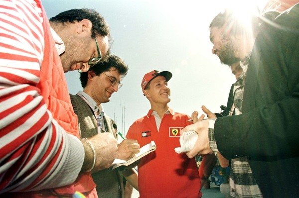 1998 Spanish Grand Prix.Catalunya, Barcelona, Spain.8-10 May 1998.Michael Schumacher (Ferrari) talks to the local press.World Copyright - LAT Photographic