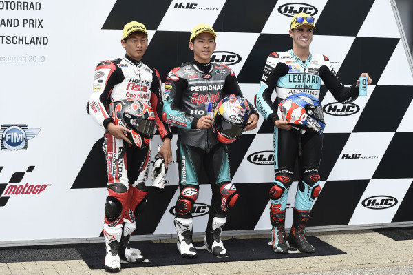 Polesitter Ayumu Sasaki, SIC Racing Team, second place Kaito Toba, Honda Team Asia, third place Marcos Ramirez, Leopard Racing.
