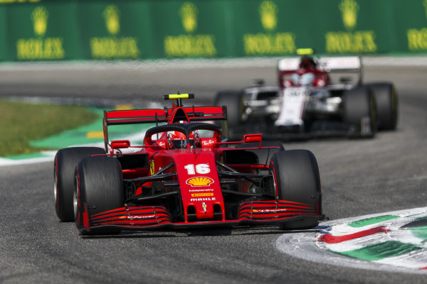 Charles Leclerc, Ferrari SF1000, leads Antonio Giovinazzi, Alfa Romeo Racing C39