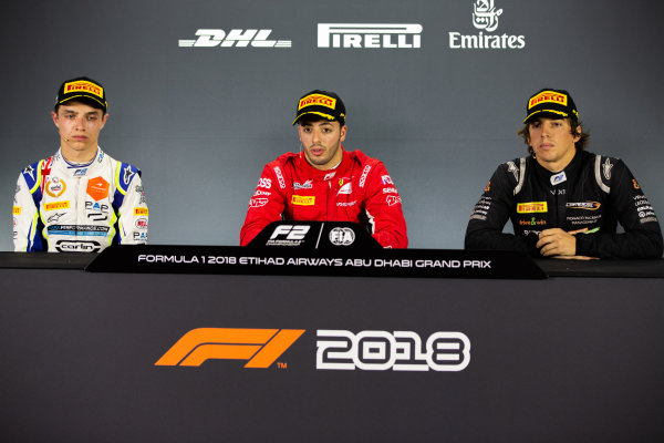 George Russell (GBR, ART GrAntonio Fuoco (ITA, Charouz Racing System). Lando Norris (GBR, Carlin). And Roberto Merhi (SPA, Campos Vexatec Racing)]and Prix). Antonio Fuoco (ITA, Charouz Racing System). And Roberto Merhi (SPA, Campos Vexatec Racing).
