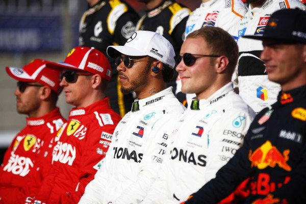 Sebastian Vettel, Ferrari, Kimi Raikkonen, Ferrari, Lewis Hamilton, Mercedes AMG F1, Valtteri Bottas, Mercedes AMG F1, and Max Verstappen, Red Bull Racing.