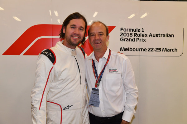 F1 Experiences 2-Seater passenger and Andrew Westacott (AUS) Australian GP CEO at Formula One World Championship, Rd1, Australian Grand Prix, Race, Melbourne, Australia, Sunday 25 March 2018.