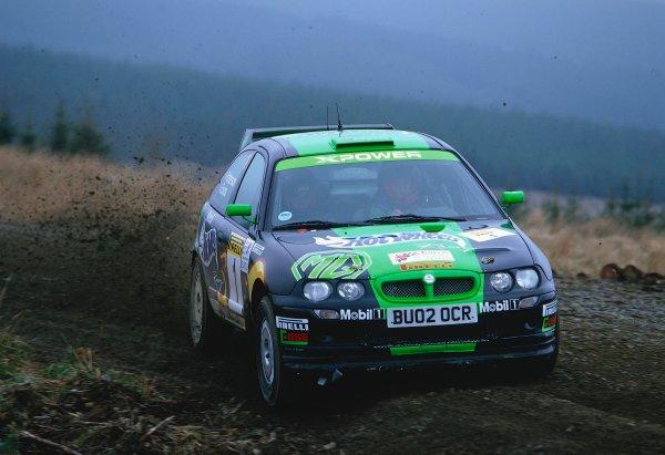 2002 British Rally Championship.Pirelli International Rally, Gateshead, April 26-28 2002.Gwyndaf Evans, MG ZR S16.World Copyright: Griffiths/LAT PhotographicRef: 35 mm original transparency