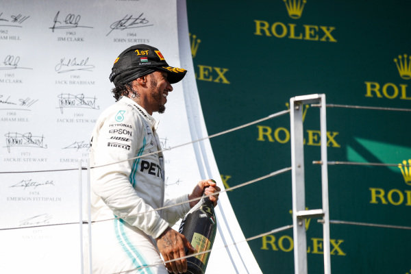 Lewis Hamilton, Mercedes AMG F1, 1st position, on the podiu