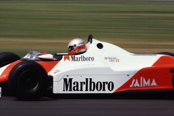 1983 British Grand Prix  Silverstone, Great Britain. 14-16 July 1983.  John Watson, McLaren MP4-1C Ford, 9th position.  Ref: 83GB01. World Copyright: LAT Photographic