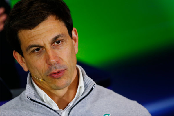 Silverstone, Northamptonshire, UK Friday 08 July 2016. Toto Wolff, Executive Director (Business), Mercedes AMG, in the Team Principals Press Conference. World Copyright: Andy Hone/LAT Photographic ref: Digital Image _ONY8147