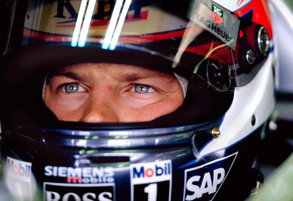 2003 British Grand PrixSilverstone, England. 18th - 20th July 2003.Kimi Raikkonen, Team McLaren Mercedes MP4-17D, portrait.World Copyright: Steven Tee / LAT Photographic ref: 35mm Image 03GB23