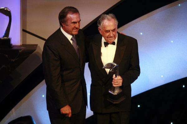 2006 Autosport Awards Grosvenor House Hotel, London. 3rd December 2006. Senator Carlos Reuteman and Sir Jack Brabham. World Copyright: Malcolm Griffiths/LAT Photographic ref: Digital Image _MG_2403