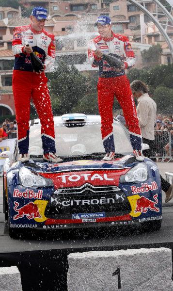 2012 FIA World Rally Championship Round 12, Rally d'Italia Sardinia 2012 18th - 21st October 2012 Mikko Hirvonen, Jarmo Lehtinen, Citroen, podium Worldwide Copyright: McKlein/LAT