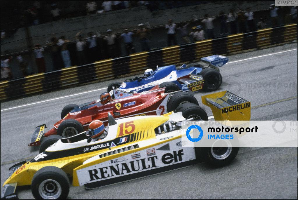 Interlagos, Sao Paulo, Brazil. 25 - 27 January 1980. Jean-Pierre Jabouille, Renault RE20, Gilles Villeneuve, Ferrari 312T5 and Didier Pironi, Ligier JS11/15-Ford, at the start. World Copyright: LAT Photographic. Ref: 80BRA15.