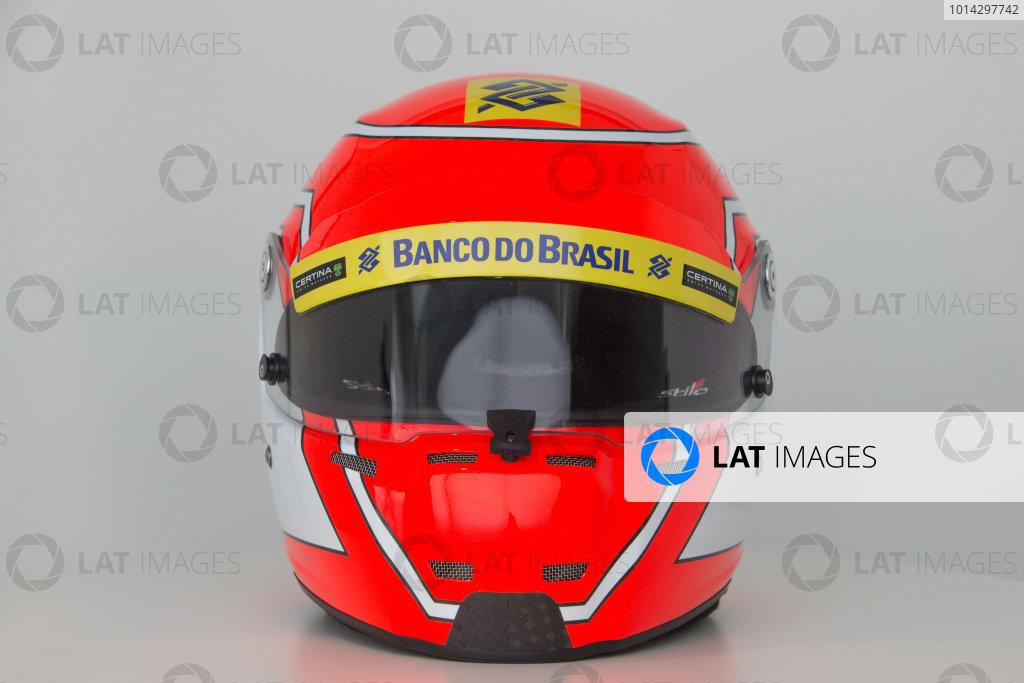 Hinwil, Switzerland. Thursday 29 January 2015. Helmet of Felipe Nasr, Sauber.  World Copyright: Sauber F1 Team (Copyright Free FOR EDITORIAL USE ONLY) ref: Digital Image 2015_SAUBER_HELMET_04