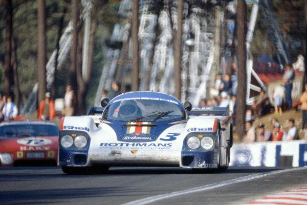 1982 Le Mans 24 hours. Le Mans, France. 19-20 June 1982. Hurley Haywood/Al Holbert/Jurgen Barth (Porsche 956), 3rd position, leads Alain Cudini/John Morton/John Paul sr (Ferrari 512BB/LM), 9th position. World Copyright: LAT Photographic. Ref: 82LM12.