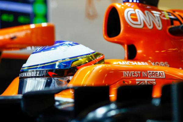 Yas Marina Circuit, Abu Dhabi, United Arab Emirates. Saturday 25 November 2017. Fernando Alonso, McLaren.  World Copyright: Steven Tee/LAT Images  ref: Digital Image _R3I3001