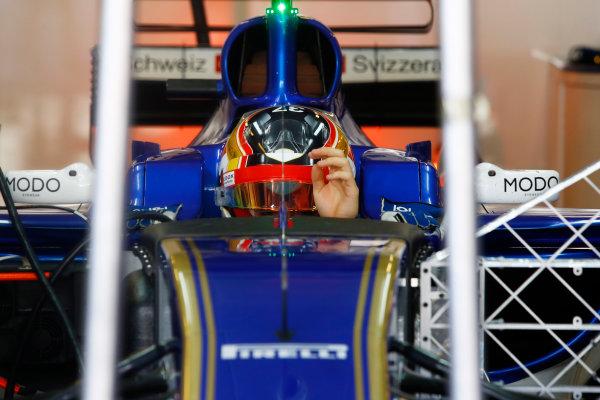 Yas Marina Circuit, Abu Dhabi, United Arab Emirates. Wednesday 29 November 2017. Charles Leclerc, Sauber C36 Ferrari. World Copyright: Joe Portlock/LAT Images  ref: Digital Image _R3I3350