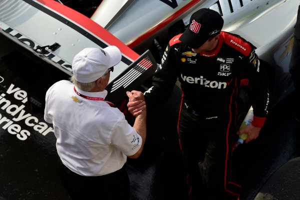 Roger Penske and Will Power, Team Penske Chevrolet celebrate the win in Victory Lane