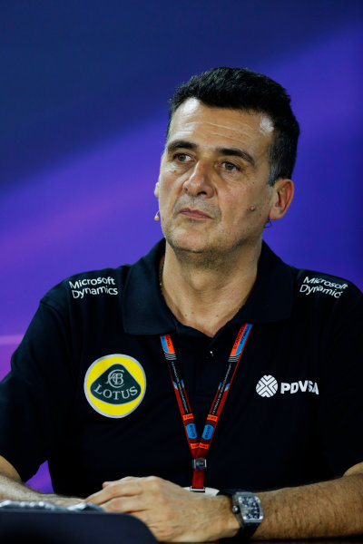 Interlagos, Sao Paulo, Brazil. Friday 13 November 2015. Federico Gastaldi, Deputy Team Principal, Lotus F1, in the Team Principals Press Conference. World Copyright: Alastair Staley/LAT Photographic ref: Digital Image _79P3725