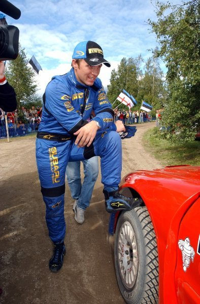Petter Solberg (NOR), Subaru, waits nervously to hear if he has second place. He did!