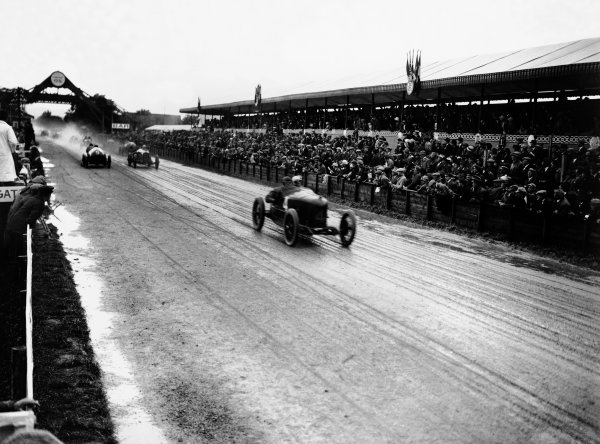 1922 French Grand Prix. Strasbourg, France. 16th July 1922. Felice Nazzaro (Fiat 804) 1st position, leads Ernest Friderich (Bugatti 30), retired, and Clive Gallop (Aston-Martin GP), retired, action.  World Copyright: LAT Photographic. Ref:  Autocar Glass Plate A656.