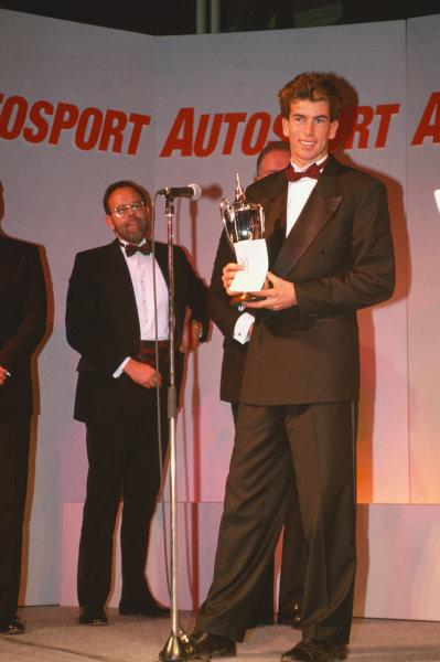 1993 Autosport Awards. Grosvenor House Hotel, Park Lane, London, Great Britain. 5 December 1993. Ralph Firman Jr, wins the Autosport/McLaren Young Driver Award. World Copyright: LAT Photographic. Ref:  Colour Transparency.