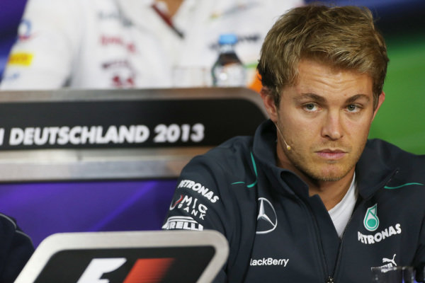 Nico Rosberg (GER) Mercedes AMG F1 in the Press Conference. Formula One World Championship, Rd9, German Grand Prix, Preparations, Nurburgring, Germany, Thursday 4 July 2013.