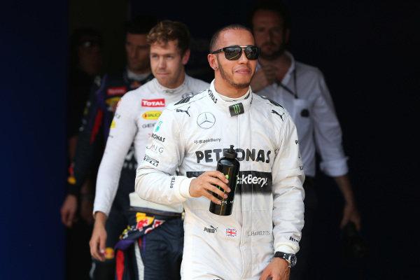 Pole sitter Lewis Hamilton (GBR) Mercedes AMG F1 in parc ferme. Formula One World Championship, Rd9, German Grand Prix, Qualifying, Nurburgring, Germany, Saturday 6 July 2013.