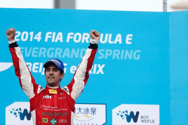 FIA Formula E -  Podium Beijing E-Prix, China Saturday 13 September 2014. Lucas di Grassi (BRA)/Audi Abt Sport - Spark-Renault SRT_01E  Photo: Sam Bloxham/LAT/ Formula E ref: Digital Image _SBL6268