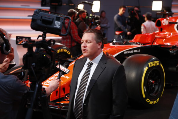 McLaren MCL32 Honda Formula 1 Launch. McLaren Technology Centre, Woking, UK. Friday 24 February 2017. Zak Brown, Executive Director of McLaren Technology Group, is interviewed by the media. World Copyright: Glenn Dunbar/LAT Images Ref: _31I9592