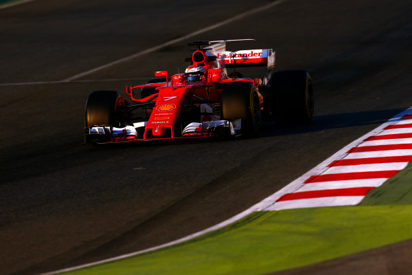 Circuit de Barcelona Catalunya, Barcelona, Spain. Thursday 02 March 2017. Kimi Raikkonen, Ferrari SF70H. World Copyright: Zak Mauger/LAT Images ref: Digital Image _L0U3493
