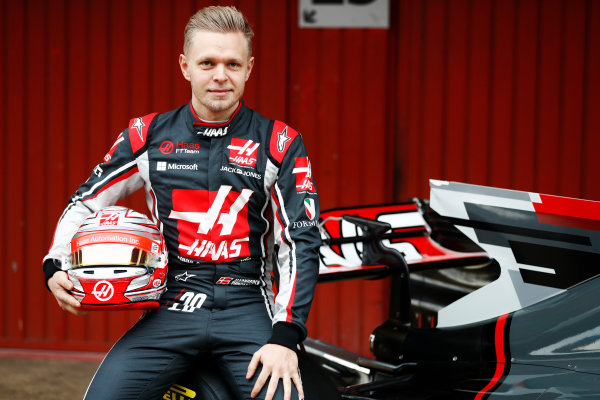 HAAS F1 Car Formula 1 Launch. Barcelona, Spain  Monday 27 February 2017. Kevin Magnussen, Haas.  World Copyright: Dunbar/LAT Images Ref: _31I9980