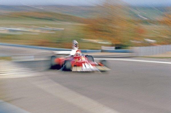 1975 United States Grand Prix. Watkins Glen, New York, USA. 3-5 October 1975. Niki Lauda (Ferrari 312T) 1st position. A Race Through Time exhibition number 51. World Copyright - LAT Photographic