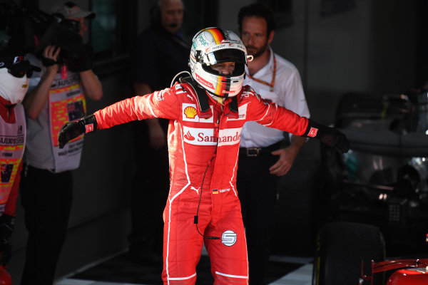 Race winner Sebastian Vettel (GER) Ferrari celebrates in parc ferme at Formula One World Championship, Rd1, Australian Grand Prix, Race, Albert Park, Melbourne, Australia, Sunday 26 March 2017.