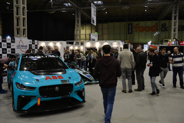 A Jaguar ipace etrophy car.